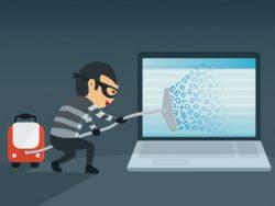 Un petit personnage déguisé en voleur, muni d'un aspirateur qui aspire toutes les données d'un écran d'ordinateur.