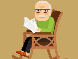 Un vieux monsieur assis dans une chaise berçante avec un journal.