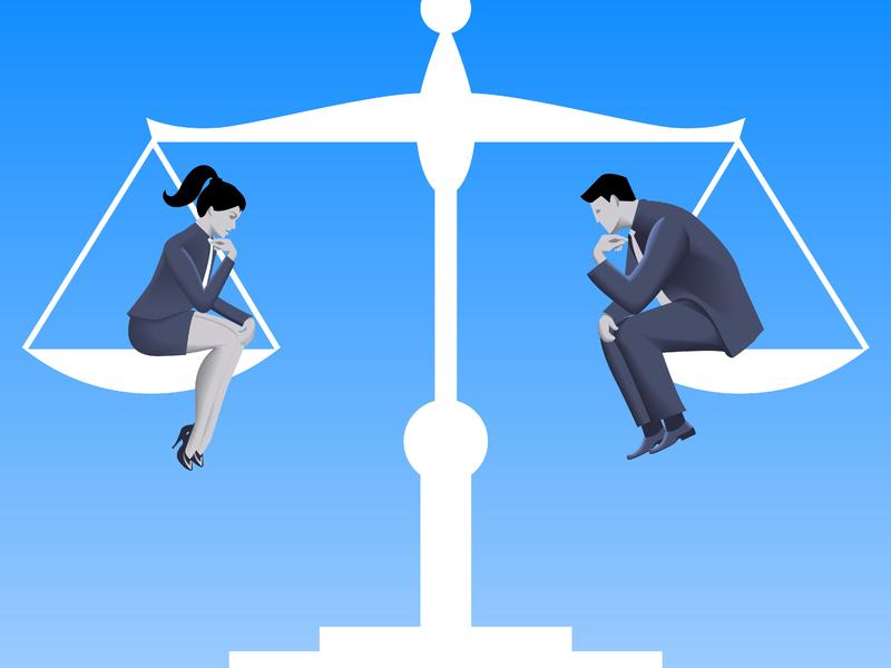 Un homme et une femme assis de chaque côté d'une balance parfaitement équilibrée.