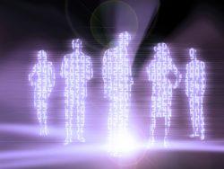 Des formes humaines faites de chiffres.