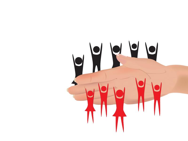 Une main séparant deux groupes de personnes.