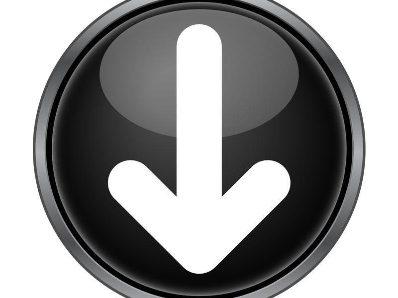 Une flèche blanche pointant vers le bas dans un rond noir.