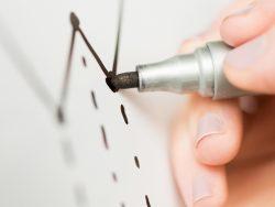 Une main qui tient un stylo et dessine une baisse sur un graphique.