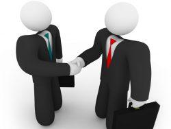 Dessin de deux hommes d'affaire se serrant la main