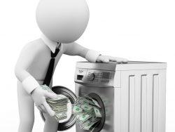 Un petit bonhomme en cravate qui sort de l'argent d'une machine à laver.