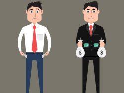 Un homme riche à côté d'un homme pauvre.