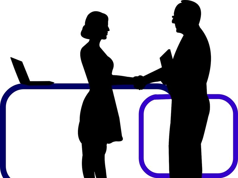 silhouettes d'une femme et d'un homme se serrant la main