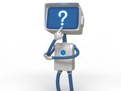 Une bonhomme avec un ordinateur pour tête. Sur l'écran de celui-ci, on voit un point d'interrogation.