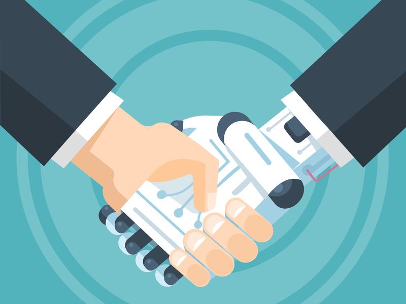 un homme d'affaire et un robot se serrant la main
