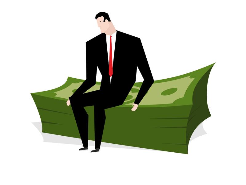 Un homme d'affaires assis sur un tas de billets vert.