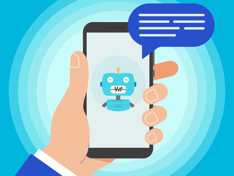 un homme d'affaire tenant un téléphone sur lequel on voit un robot qui lui parle