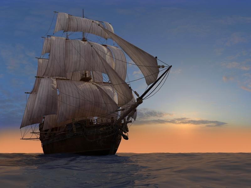 Bateau de l'époque sur la mer