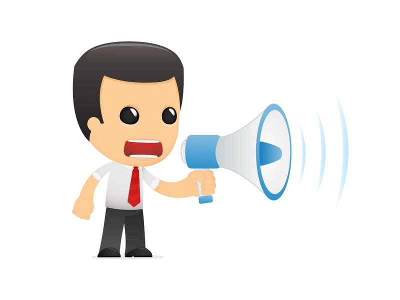 Dessin d'homme d'affaire avec un haut parleur