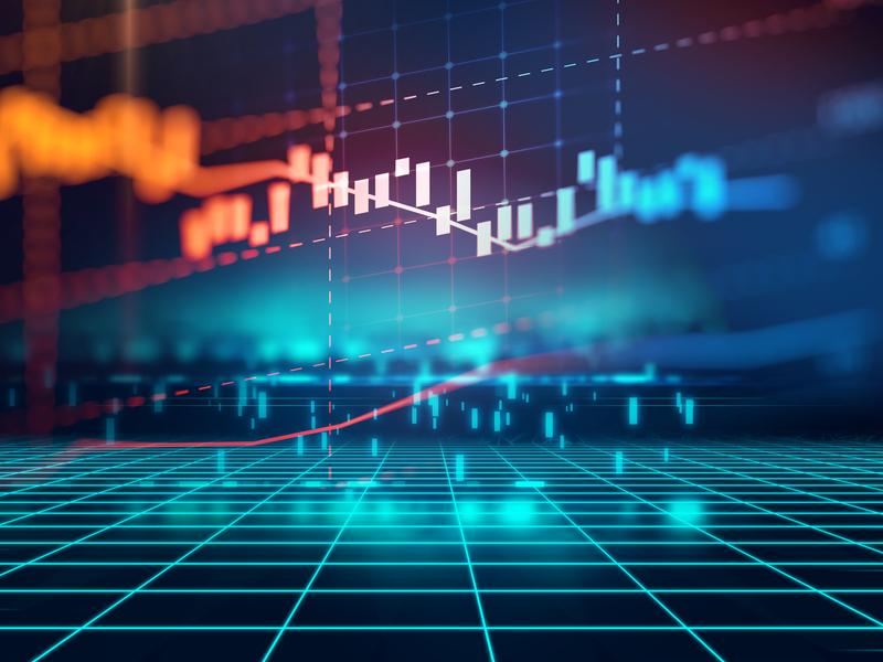 Une courbe financière sur un fonds futuriste