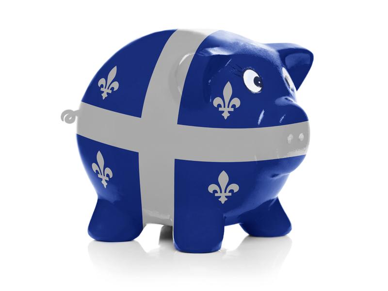 Une tirelire aux couleurs du drapeau du Québec