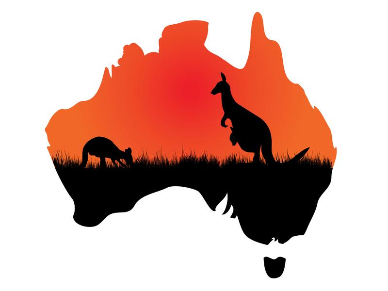 Une image de deux kangourous. L'image est découpée dans la forme du continent australien.