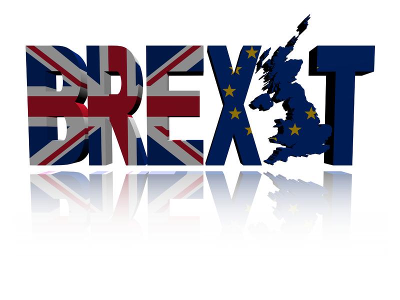 On voit le mot Brexit. Les B, R, E forment le drapeau du Royaume-Uni alors que les dernières lettres forment le drapeau européen. Le I a la forme de l'Angleterre.