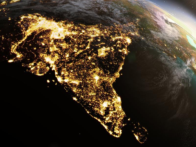 Continu indien vu de l'espace.