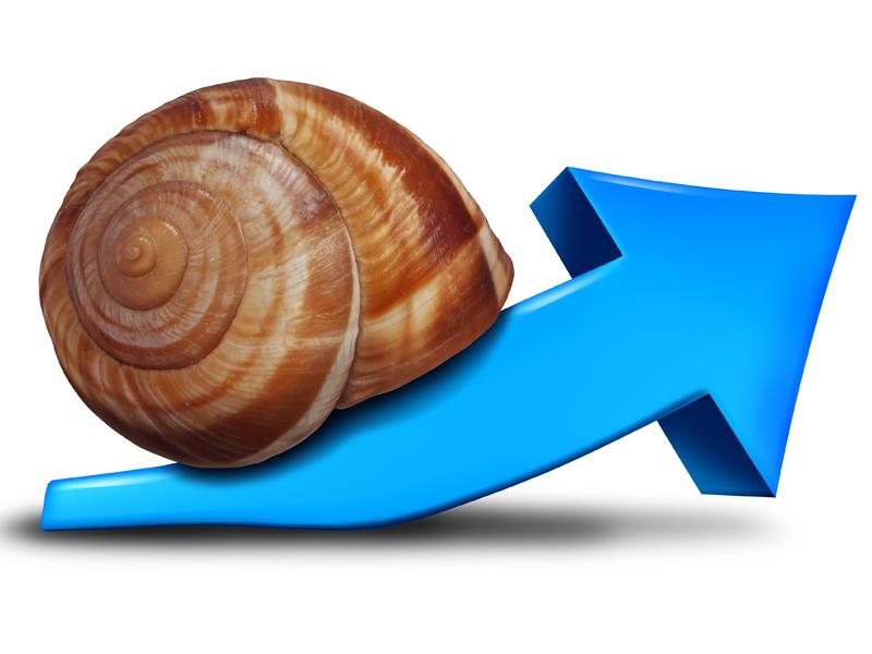 Un escargot sur une flèche qui monte.