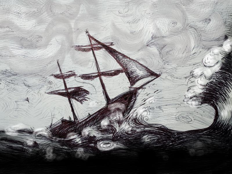 Un dessin de bateau dans une tempête