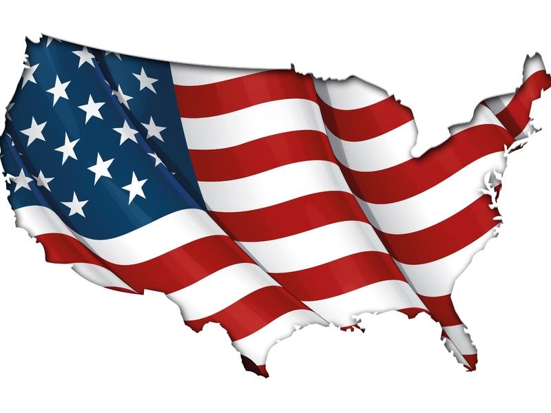 Drapeau américain qui à la forme des États-Unis
