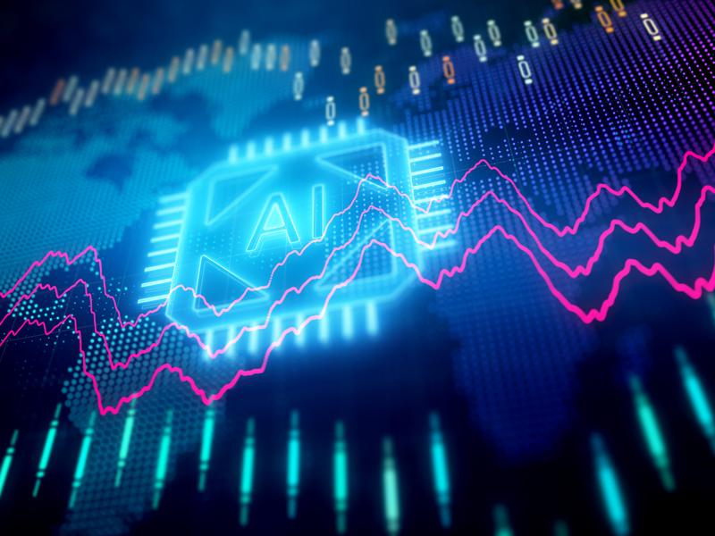 Un sigle IA au milieu d'un graphique de marché boursier