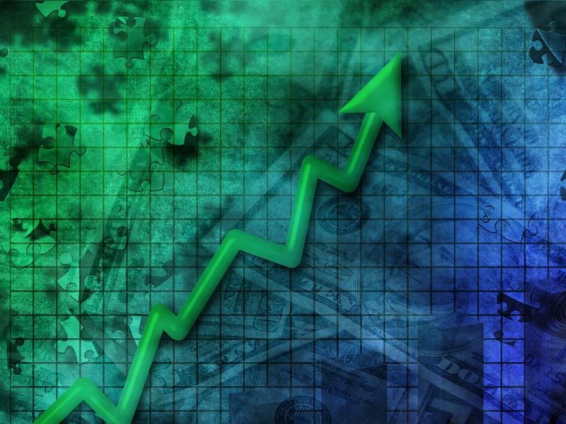 Une flèche qui monte sur un fonds vert-bleu.