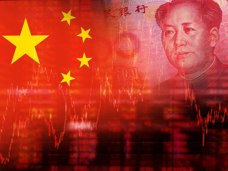 Drapeau de la Chine et en transparence on voit de l'argent.