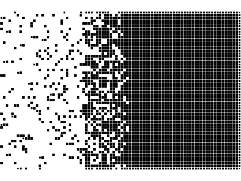 Un tableau de pixel qui s'éparpille.
