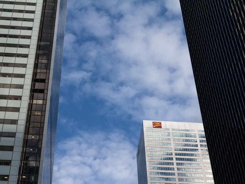 Une photo de la succursale de CIBC à Toronto.