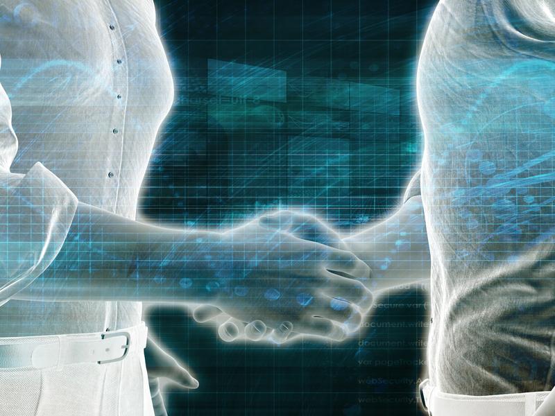Deux hommes composés de 1 et de 0 se serrant la main.