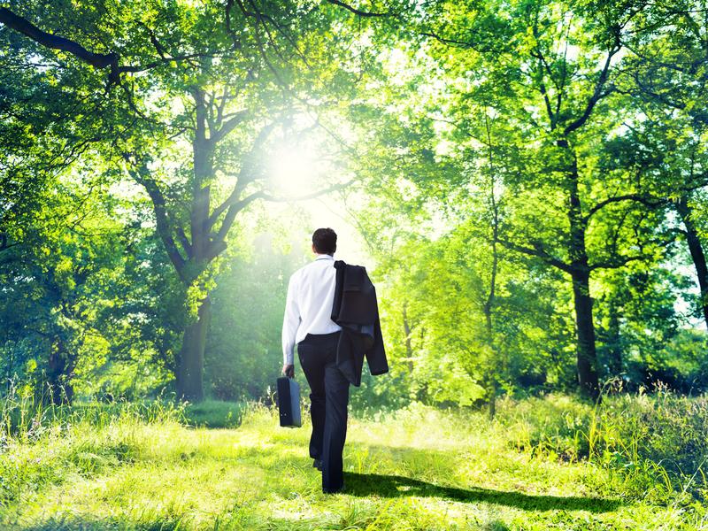 Un homme d'affaire marchant dans une forêt ensoleillée.