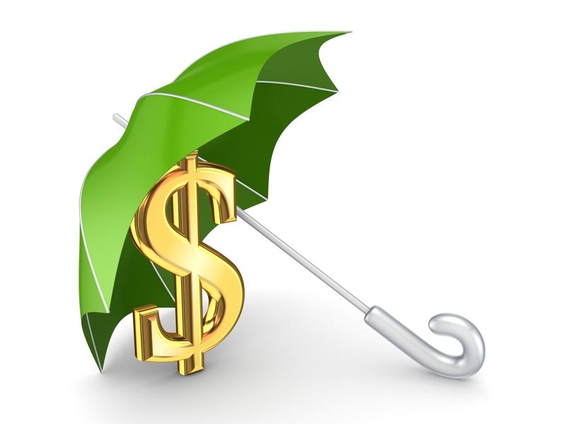 Un parapluie couvrant un signe de pièce.