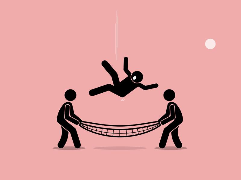 Deux personnages avec un filet en rattrapant un troisième qui tombe du ciel.