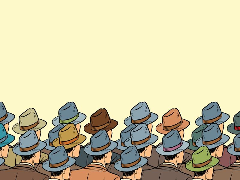 Une foule d'hommes d'affaires avec des chapeaux.