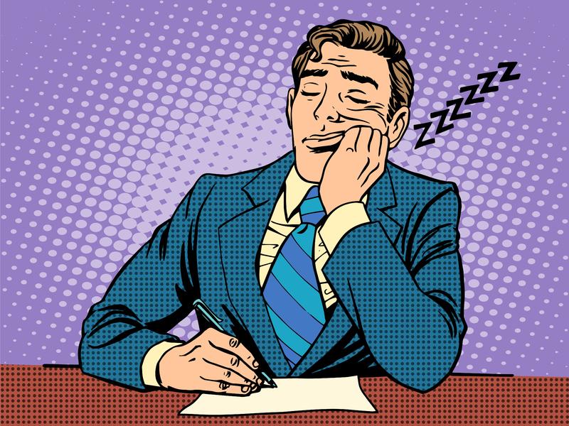 Un dessin d'homme d'affaire assis à une table qui s'est endormi devant un rapport ennuyeux.
