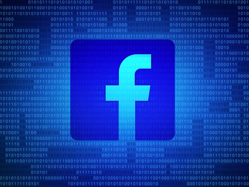 Une image du logo Facebook sur un fonds bleu.