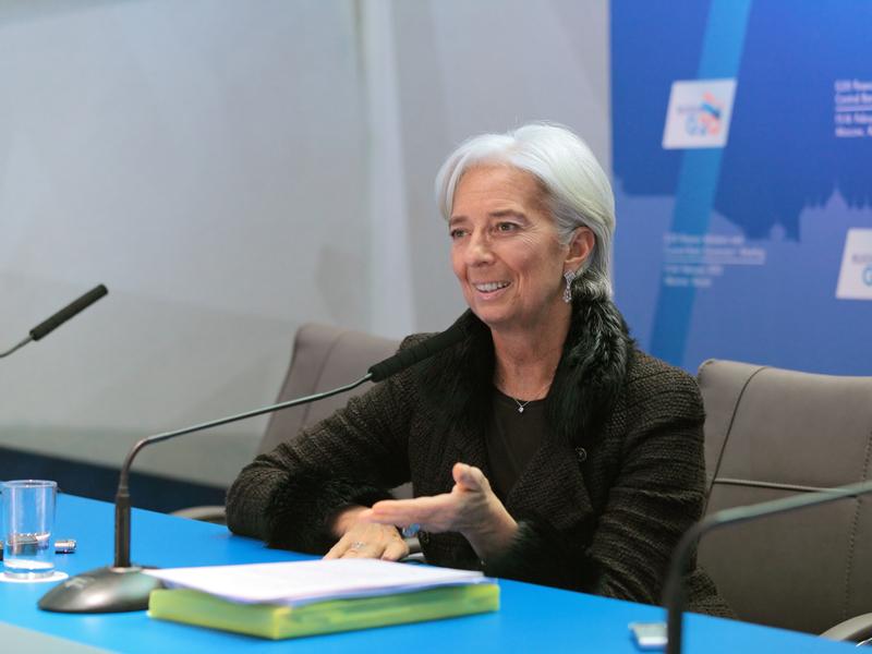Christine Lagarde à une conférence.