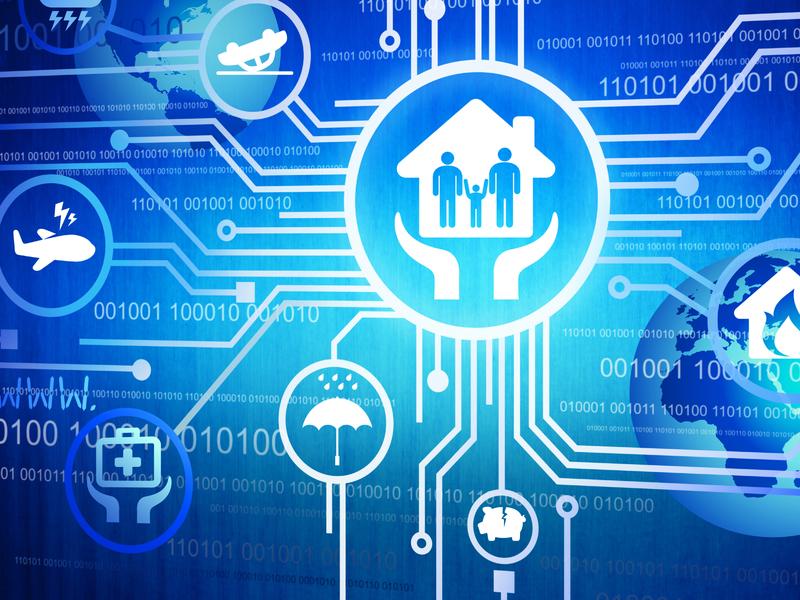 Un dessin de main soutenant une maison, sur un fonds bleu représentant une ram d'ordinateur. On voit d'autres dessins dans des bulles, dont une voiture sur le dos, un parapluie et une tirelire.