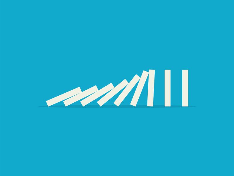 Des dominos qui tombent les uns sur les autres sur un fond bleu.