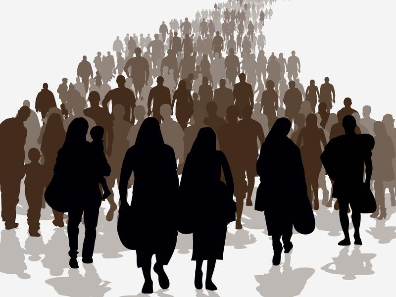 Un dessin d'une foule de personnes portant des bagages.