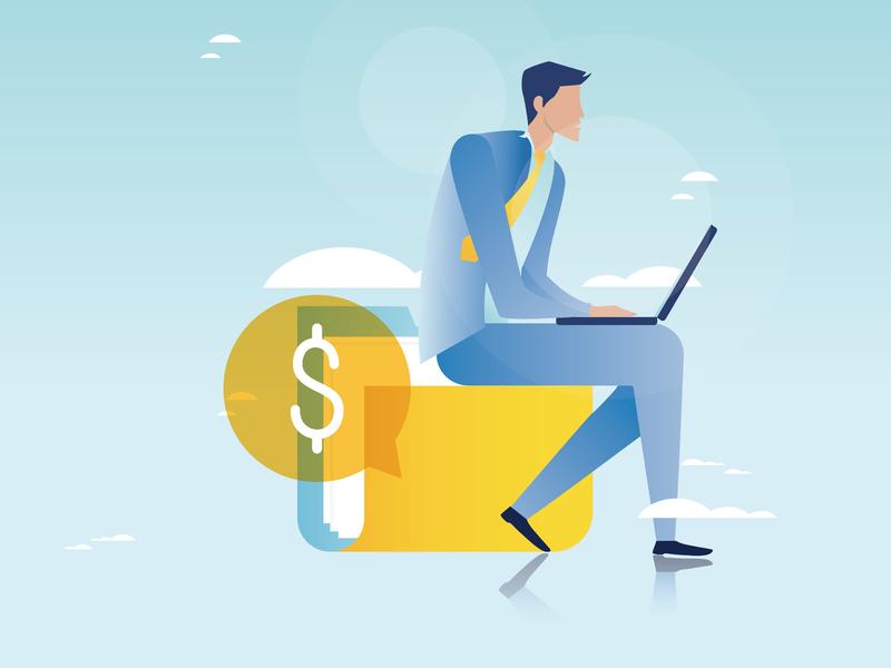 Un homme d'affaires avec un ordinateur assis sur un bloc jaune dans le ciel. On voit également un signe de dollar, dans une bulle derrière lui.