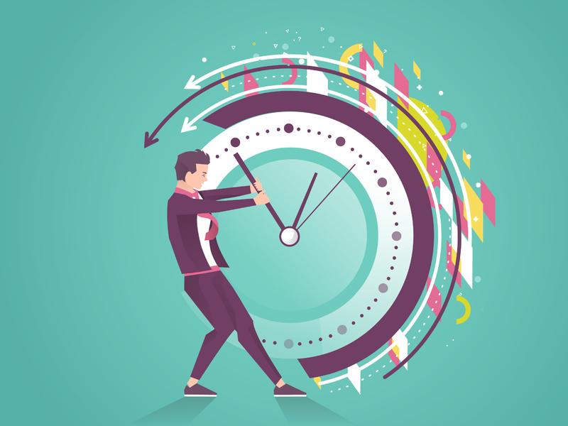 homme d'affaire tentant de reculer le temps sur une grosse horloge.