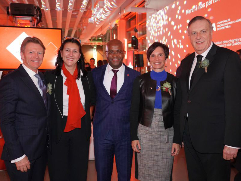 Une photo d'événement où l'on peut voir Claude Gagnon, Magda Fusaro, rectrice de l'UQAM, Komlan Sedzro, doyen de l'ESG UQAM, Lucie Blanchet et Dr Pierre Gfeller.