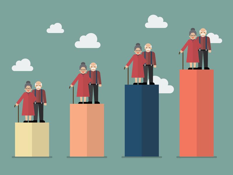 Quatre pilonnes toujours plus haut sur lequel se trouve un couple de personnes âgées.
