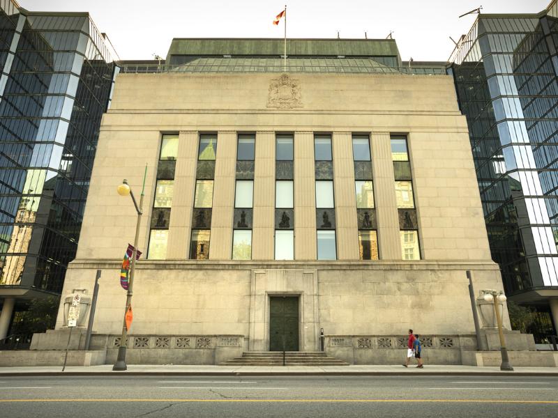Une photo du bâtiment de la Banque du Canada.