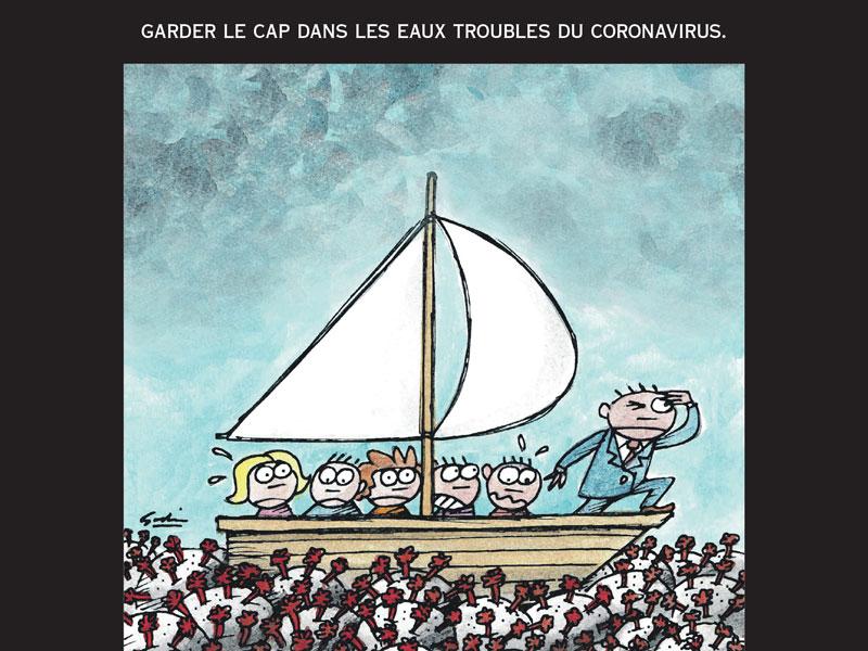 Une caricature avec plusieurs personnes sur un petit voilier voguant sur une mer de COVID-19. Les passagers semblent terrorisés, un seul est calme, il est debout et regarde à l'horizon.