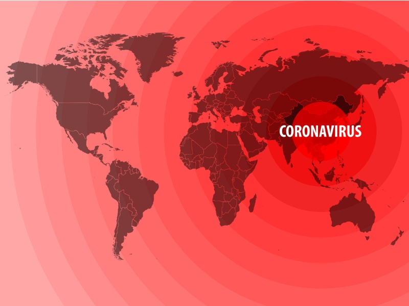 Une carte du monde avec écrit coronavirus aux alentours de la Chine.
