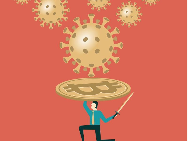 Des maladies fonçant sur un homme à genou, qui tient au dessus de sa tête un bouclier en forme de bitcoin.