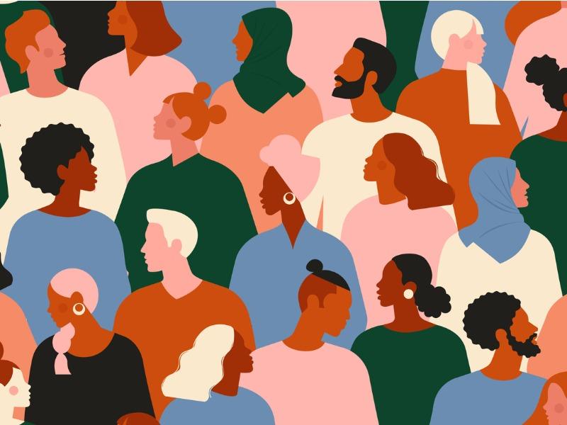 Une foule d'hommes et de femmes de différentes origines.